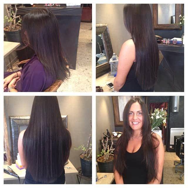 Avant et après la pose d'extensions de cheveux
